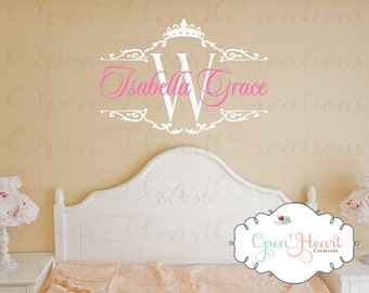 Princess Name Wall Decal with Initial and Tiara Crown Accent - Baby Girl Nursery or Teen Wall Decal BA0337