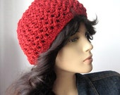 Hand Knit Red Hat, Cherry Lace Beanie, Womens Hat, Spring Fashion Accessories, The Leslie Beanie, Knit Beanie Hat