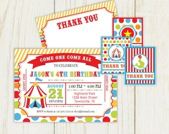Circus Birthday Invitation and party items - DIgital files