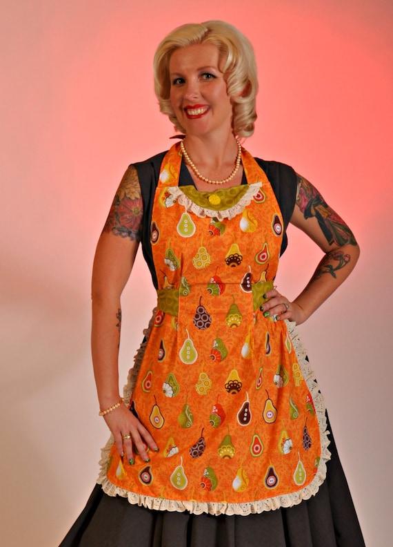 On Sale/retro apron/pears apron/adjustable sides apron/woman apron/full apron/fun and sassy apron