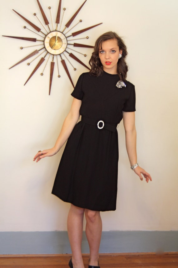 Vintage 1960s Little Black Dress/ A Leslie Fay/ Rhinestone Belt/ Short Sleeve/ Knee Length/ Retro LBD/ MAD Men Wiggle Dress/ Cocktail Party
