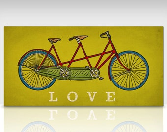 Custom PERSONALIZED Tandem BICYCLE bike LOVE ready to hang stretched canvas wall art