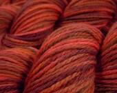Hand Dyed Yarn - Aran Weight Superwash MCN (Merino Wool / Cashmere / Nylon) Yarn - Bricks - Knitting Yarn, Wool Yarn, Rust Red Brown Worsted