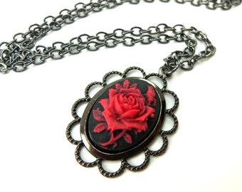 Gothic Rose Necklace Black Red Rose Cameo Pendant Dark Victorian Jewelry Gunmetal