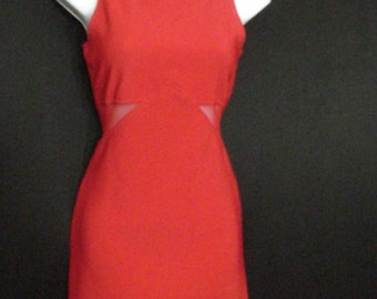 Red Dress Bodycon All That Jazz Vintage Mini Dress w Sheer Cut Out Sexy Sides Party Dress SM