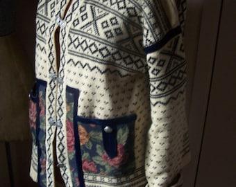 Norwegian knit Sweater Dir Dalstrikk Size 52 Made in Norway Wool Vintage Cardigan VINTAGE by Plantdreaming