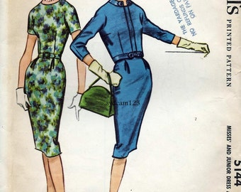 Vintage 1959 Belted Wiggle Dress Pattern and Open Front Jacket Tab Trim Wiggle Collarless 1950s McCalls 5144 Bust 36 UNCUT