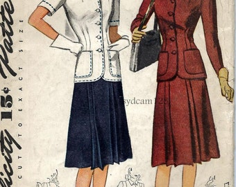 Vintage 1940s Suit Pattern Topstitched Fitted Jacket and Front Pleated Skirt 1942 Simplicity 4209 Bust 36