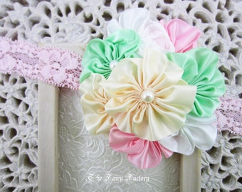 Satin Flower Headband, Mint Green Pink Ivory & White Satin Flowers with Pearls Lace Headband, Baby Toddler Child Girls Headband, LIMITED