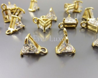 4 simple clear cubic zirconia CZ triangle charms for diy necklaces, bracelets, earrings, and crafts 1887G-CL (gold, clear, 4 pcs)