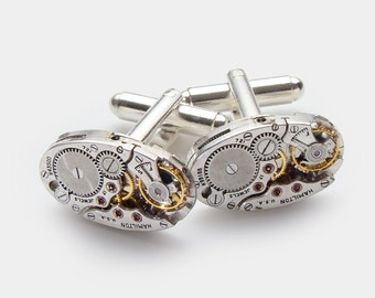 Steampunk Cuff links Vintage Hamilton Watch Movements Wedding Anniversary Grooms Gift Silver Cufflinks Mens Jewelry Steampunk Nation
