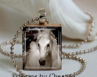 Horse White Stallion Scrabble Necklace