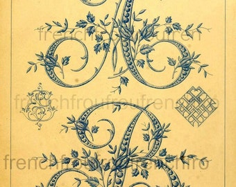 antique french embrodery alphabet letters initials rosebuds digital download