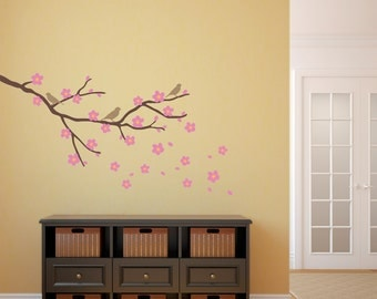Cherry Blossom with Birds Wall Decal - Flower Decal - Branch Decal - Medium
