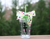 Personalized ballerina gift - Insulated cup with ballerina and polka dots