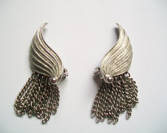SALE - Vintage Angel Wing Clip-On Earrings