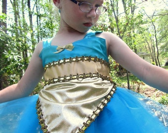 Jasmine Costume: lined blue and gold, Aladdin, Princes Birthday Party, Parks Trip, adjustable, Princess Costume, princess dinner, vacation