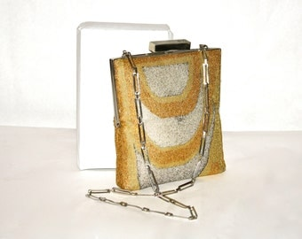 PIERRE CARDIN Vintage Beaded Purse Gold Silver Abstract Mod Chain Clutch - AUTHENTIC -