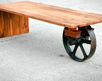 Wheeled Waterfall Coffee Table - Custom Furniture - Industrial Wooden Table - Hardwoods - Reclaimed Wood - Rustic Decor