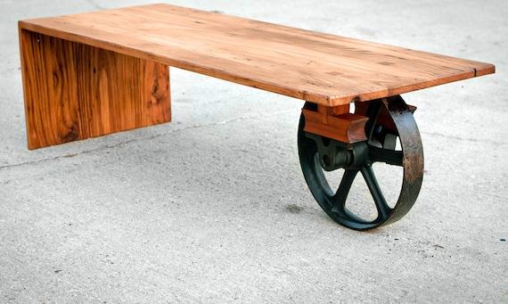 wheeled waterfall coffee table custom furniture industrial