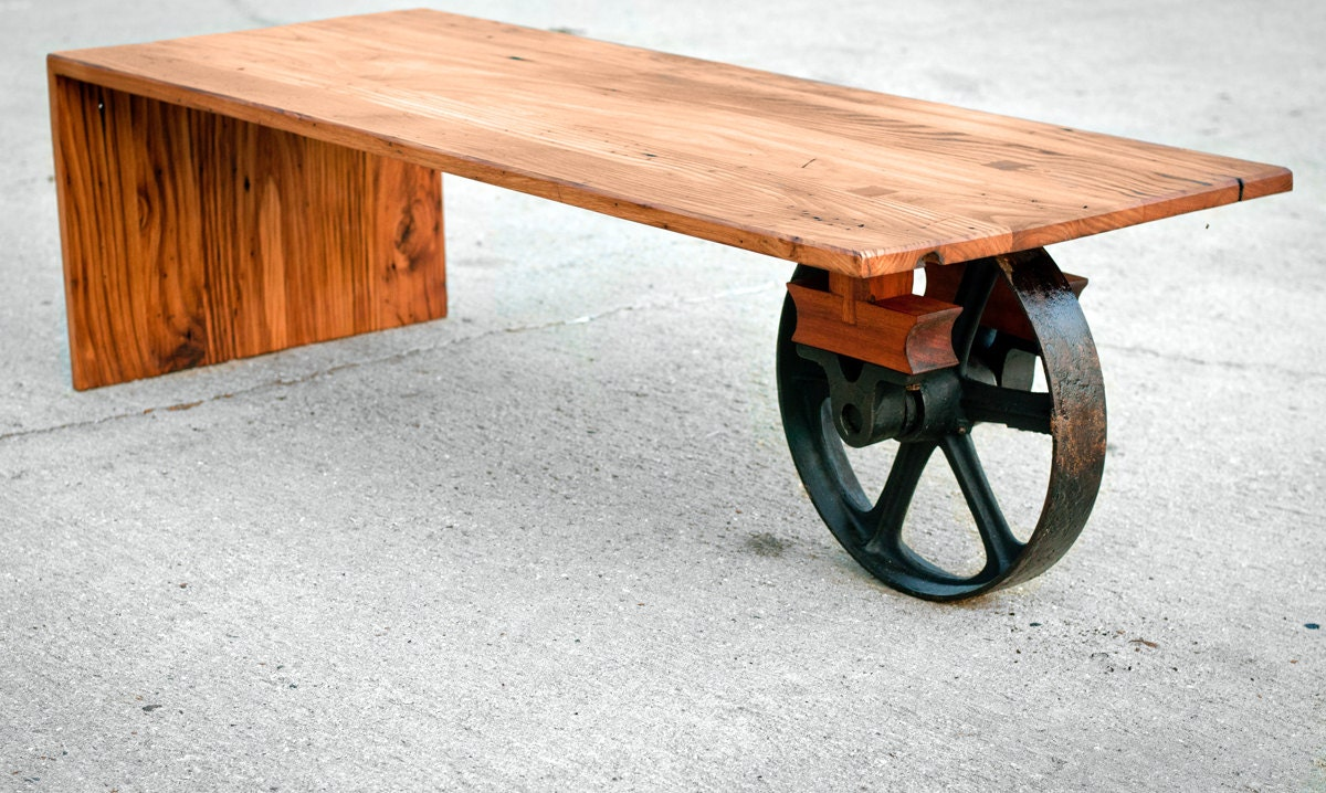 Wheeled waterfall coffee table custom furniture industrial for Unique furniture