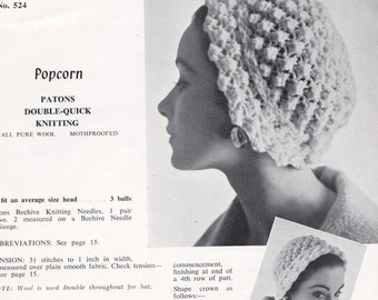 Womens Girls Hats Vintage 1940s Knitting & Crochet Patterns Book Patons 524 ORIGINALS not PDF