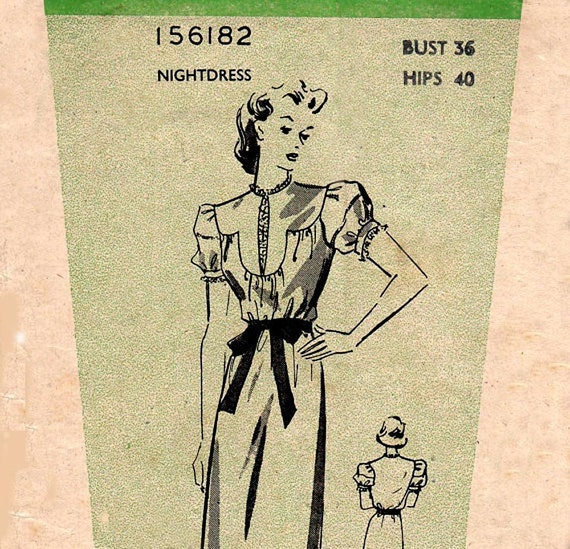 40s Nightgown pattern Weldons Mail Order Nightdress 1940s Vintage Sewing Pattern Bust 36 inches UNUSED Factory Folded