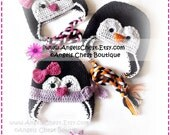 Cute PENGUIN Crochet Hat Earflap Pattern Size Newborn to Adult Boutique Design - No. 52 by AngelsChest