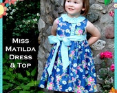PRINTED Girls Dress Pattern - Miss Matilda Dress and Top, Size 6 Month - 10 Years by The Cottage Mama