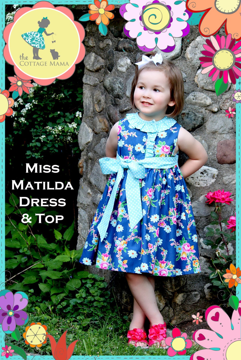 PRINTED Top Pattern: Miss Matilda Dress and Top - Size 6 Month - 10 Years