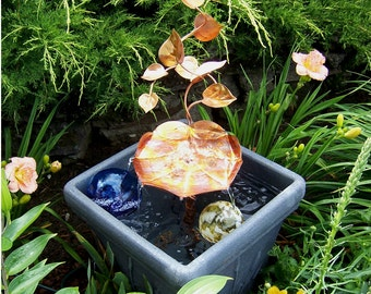 Garden Pond Copper Art Birdbath Water Fountain Copper Turtle Shell & Vines Container Style Birdbath Fountain