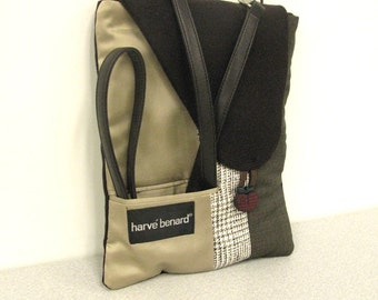 HALF PRICE! Cross body bag, iPad case, iPad sleeve, tablet case, detachable strap, taupe, brown, recycled mens suit coats, front pocket