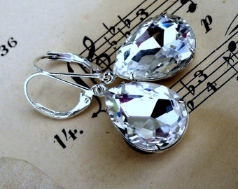 White Hot Ice, Estate Style Vintage Crystal Pear Shaped Jewel Earrings