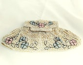 antique . micro  hand beaded . victorian . fabric . evening  purse . wedding . floral . formal . envelope style .