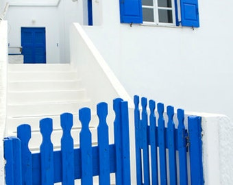 gate photo, fine art photography print, nautical blue white house minimalist, pictures of greece