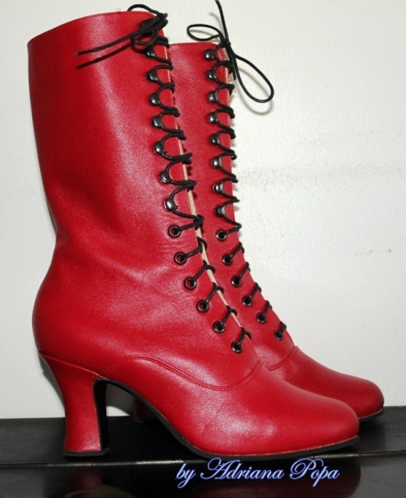 Victorian shoes Red leather Victorian Boots Red Boots Victorian Red Shoes Edwardian shoes Ankle lace up boots in red leather Custom boots