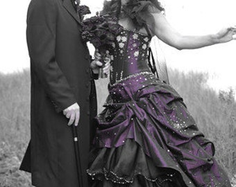 Steampunk Wedding Dress Bridal Gown Available in other colors Custom Made to your Measurements