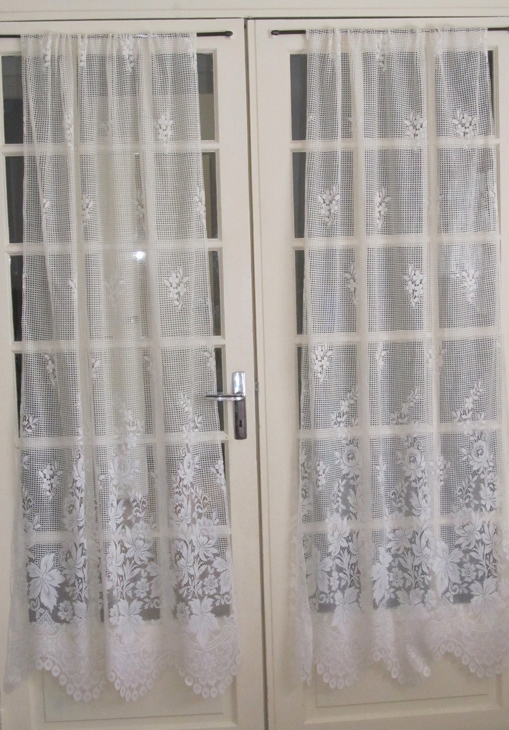 Ivory French Door Lace Curtains Ecru Lace By Hatchedinfrance