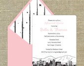 San Diego Skyline set of 25 any occasion invitations with matching envelopes