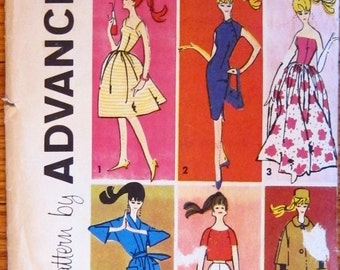 Mattel Advance Sewing Pattern for Barbie Fashion Doll 1961