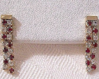 Red Clear Crystal Rhinestones Clip On Earrings Gold Tone Vintage Double Strand Prong Set Stone Long Dangles