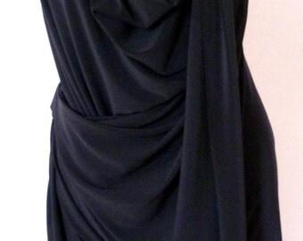 Blue dress with drape,cowl neck dress,sleeveless cowl drape mini or tunic, handmade by Cheryl Johnston to order