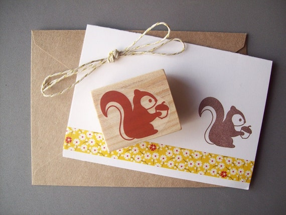 Squirrel Rubber Stamp with Acorn - Woodland Forest Autumn Animal Stamp