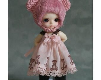 Pink Bear Dress for  Tiny BJD -Puki Puki, Lati White, Obitsu11