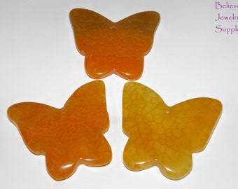 SET OF 3 Dragon Veins Agate Butterfly Pendants Shades Of Golden Yellows Reversible Hand Carved Focal Pendant Necklace Beads Jewelry Supplies