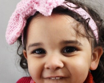 12 to 24m Baby Pink Bow Headband - Big Bow Baby Headband Crochet Baby Girl Bow Pink Headband Toddler Prop Photo Prop Gift Costume Gift