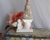 Easter Bottle Brush Tree Vintage Angel Cherub Pink Roses