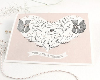 30% OFF - Valentine's Day Card - You Are Awesome - 10 Greeting Cards