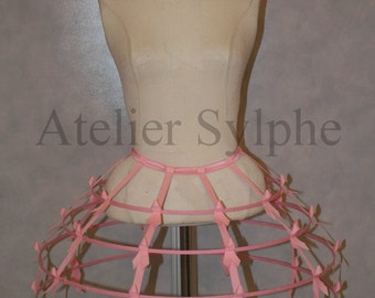 Pink color Crinoline hoop skirt panier 4 rows elastic waist band and cotton ribbon fantasy cage dress Ball Gown Boned