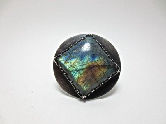 Statement Ring Labradorite Unique Stone Ring Handmade Artisan Jewelry